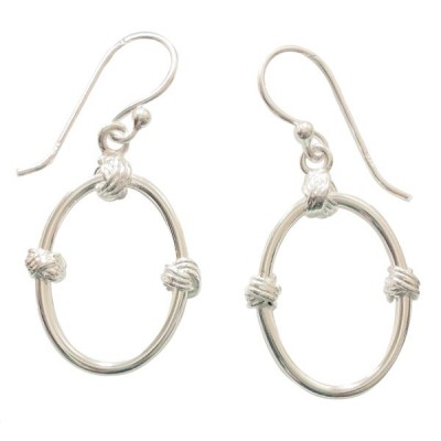 SS Earring Plain Open Dangling Oval W/ Two Knots, Silver
