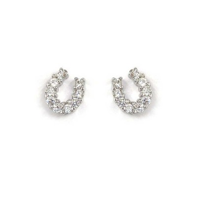 Sterling Silver Earring Horseshoe Stud with Clear Cubic Zirconia