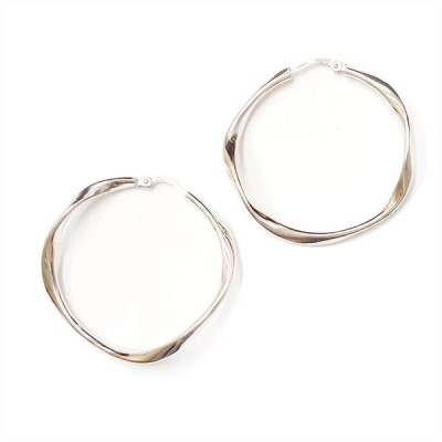 SS Earg 30Mm Slightly Twisted Plain Hoop, Silver