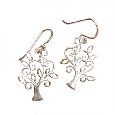 SS Earring Open Plain Tree With Leaf Fish Wire, Silver