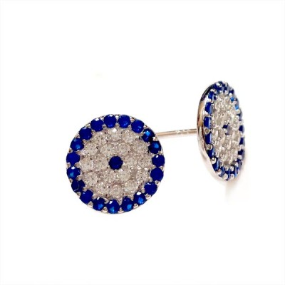 SS Earg Round Evil Eye Pave Cl Cz W/ Blue Cz Ard, Multicolor