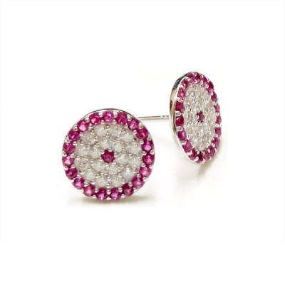 SS Earg Round Evil Eye Pave Cl Cz W/ Red Cz Ard, Multicolor