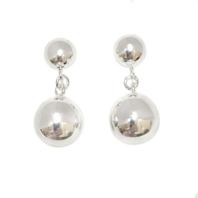 SS Earring 12Mm Plain Dangling Silver Ball, Silver