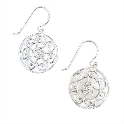 SS Earg Plain Open Flower Filigree In Circle, Silver