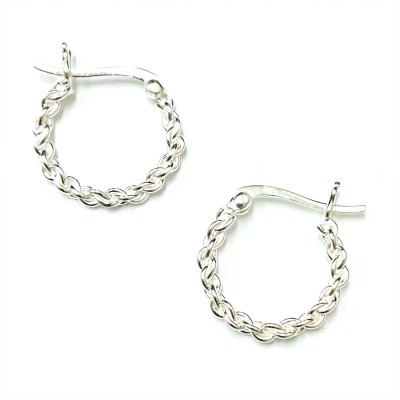 SS Earg 18Mm Linked Chain Hoop W/ Latch Back, Silver