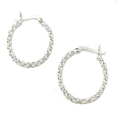 SS Earg 25Mm Linked Chain Hoop W/ Latch Back, Silver