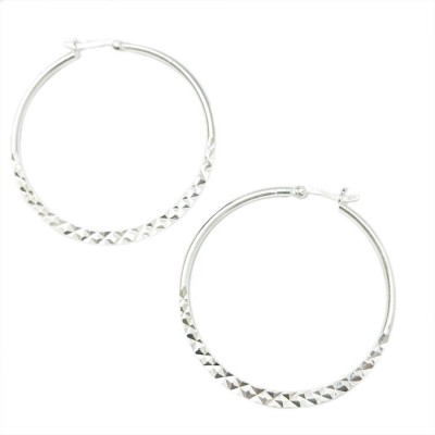 SS Earg 45Mm Half Diamond Cut Hoop W/ Latch Back, Silver