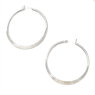 SS Earg 40Mm Half Textured Hoop W/ Latch Back, Silver