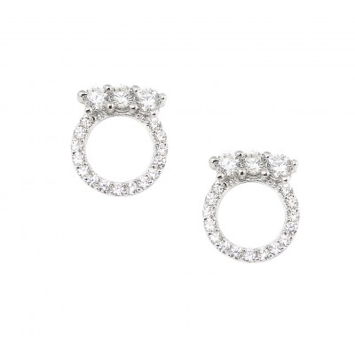 Sterling Silver Earring 3 Clear Cubic Zirconia Top of Open Clear Cubic Zirconia Circle