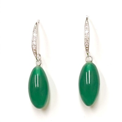 SS Earring Oval Green Jade Drop With Clear Cz Fish, Multicolor