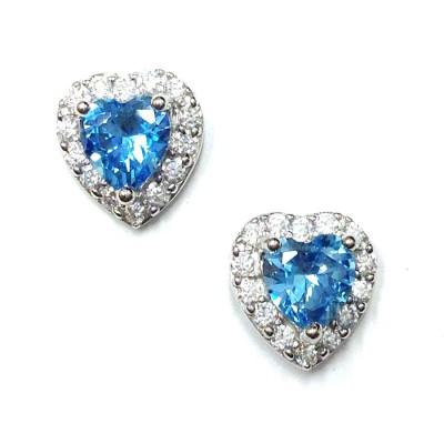 SS Earg Blue Topaz Cz Heart W/ Cl Cz Around Stud, Multicolor