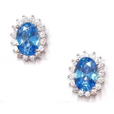 SS Earg Oval Blue Topaz Cz W/ Rd Cl Cz Around Stud, Multicolor