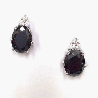 Sterling Silver Earring 6X8mm Oval Black Cubic Zirconia with 3 Round Clear Cubic Zirconia Top Stud