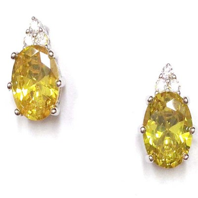 SS Earg 6X8Mm Oval Canary Cz W/ 3 Rd Cl Cz Top, Silver