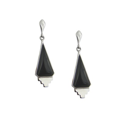 Sterling Silver Earring Dangling Triangle Cabochon Onyx