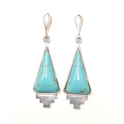 Sterling Silver Earring Dangling Triangle Cabochon Reconstituent Turquoise