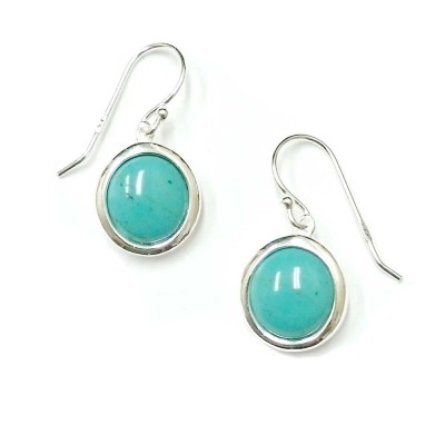SS Earring 13Mm Round Slight Dome Recon. Turquoise, Multicolor