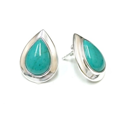 SS Earring Cabochon Recon. Turquoise Plain Silver, Multicolor
