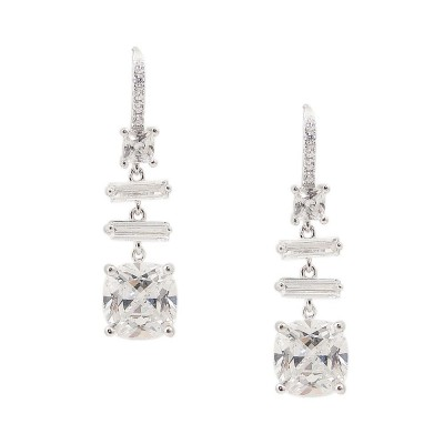 SS Earring Baguette & Square Clear Cz Dangling, Clear