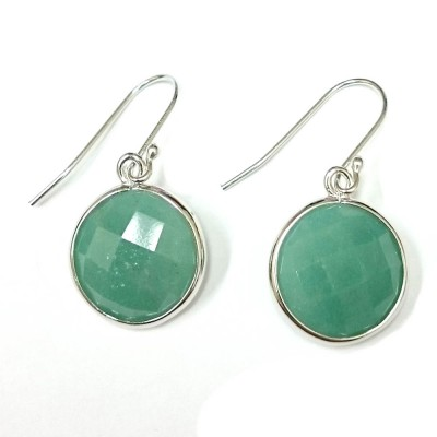 Sterling Silver Earring 16mm Round Chess Cut Green Aventurine