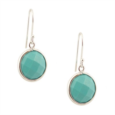 Sterling Silver Earring 16mm Round Chess Cut Reconstituent Turquoise