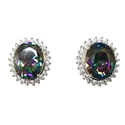 Sterling Silver Earring 12X10mm Mystic Topaz Cubic Zirconia Oval with Clear Cubic Zirconia