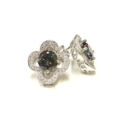 Sterling Silver Earring Mystic Topaz Cubic Zirconia on Clear Cubic Zirconia Open Flower