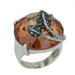 Marcasite Ring 23X23mm Champagne Cubic Zirconia Round Chess Cut Dome with Pave