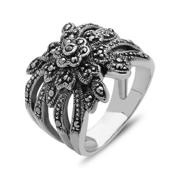 Marcasite Ring Flower with Marquis Leaf
