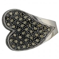 Marcasite Ring Pave Marcasite Heart Slope