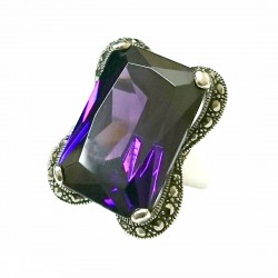 Marcasite Ring 23X16mm Rectangular Amethyst Cubic Zirconia with Marcasite Lines