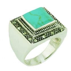 Marcasite Ring 19X19mm Faux Turquoise Square with Twisted Rope