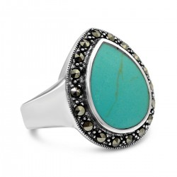 Marcasite Ring Reconstituent Turquoise Teardrop Cabochon with Marcasite Around