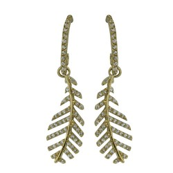 Brass Earring Leaf with Gold Color Plating Clear Cubic Zirconia