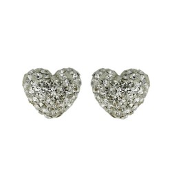 Brass Earring 8.8mm/9.8mm Puffy Heart Clear Crysta