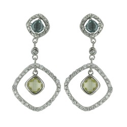 Brass Earring Clear Cubic Zirconia Diamond Shape Dangle Yl/Bl Cubic Zirconia
