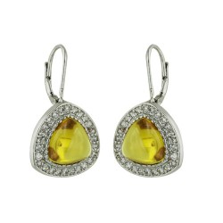 Sterling Silver Earring Trillion Yellow Cubic Zirconia Surround by Clear Cubic Zirconia