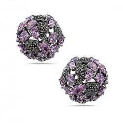 Marcasite Earring 23mm Pink Cubic Zirconia Round with Tear Drop+Rhombus+Oval+Rou