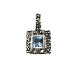Marcasite Pendant Square Ag Glass