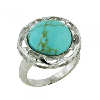 Brass Ring 13.5mm Turquoise on Bezel with Open Ovals - 8