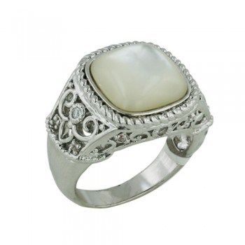 Brass Ring Filigree Classic Ring White Mother of Pearl - 8