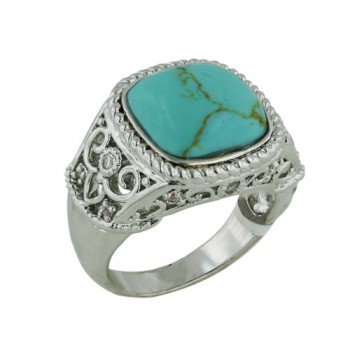 Brass Ring Filigree Classic Ring Recons Turquoise - 8