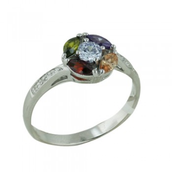 Brass Ring Mc Marquis Around Clear Cubic Zirconia - 8