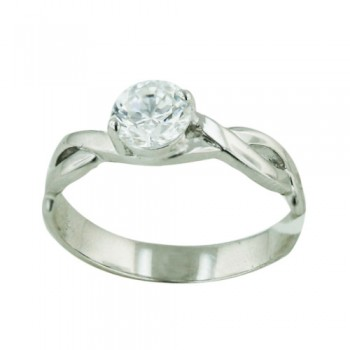 Brass Ring 6mm Clear Cubic Zirconia on Plain Silver Twist - 8
