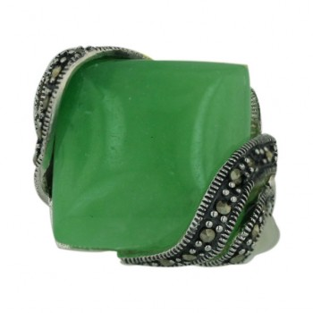 Marcasite Ring 18X18mm Green Jade Cushion with Marcasite Diagonal E - 8