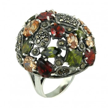 Marcasite Ring 30X30mm Round Dome Garnet Cubic Zirconia Tear Drop+ Olivine Cubic Zirconia Mar - 8