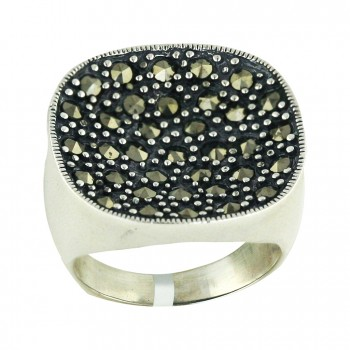 Marcasite Ring 22X21mm Cushion Pushed Down - 8