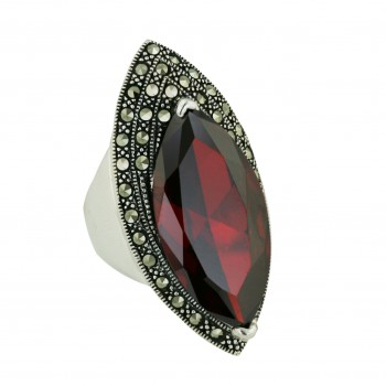 Marcasite Ring 30X15mm Garnet Cubic Zirconia Marquis with 3 Layer Pave Marcasite Li - 8