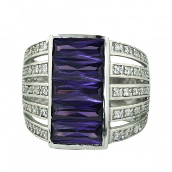 Sterling Silver Ring 20mmx10mm Amethyst Cubic Zirconia Rectangular with 5 Line both Side- - 8