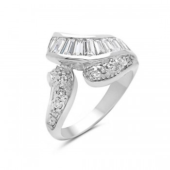 Sterling Silver Ring Clear Cubic Zirconia Baguette Channel Set+Pave Clear Cubic Zirconia